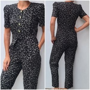 VINTAGE black granny floral print jumpsuit